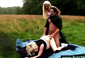 Outdoor making out for CFNM British babes by naked dude