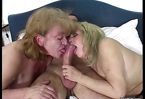 Lucky scrounger fucks two amazing grannies