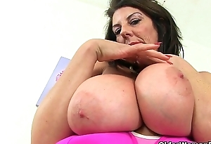 Scottish milf Toni Lace with an increment of British milf Dilly Lush in tights