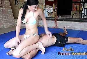 Turquoise Bikini Explicit Wrestles Old Guy