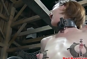 Shaved sub machine fucked by cruel dominant