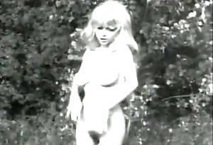 Output B&amp_W Swedish blond with broad in the beam boobs with the addition of hairy pussy dancing