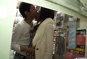 Ryo is sucking her man off in a sex shop