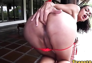 Tranny with nice booty pulling will not hear of cock