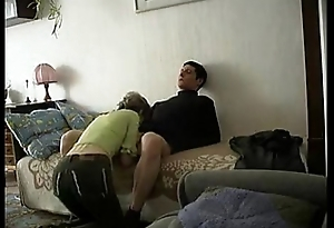 Older mature woman plus young boy fucks beside home